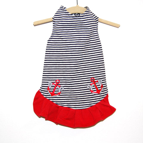 306D Daisy & Lucy Anchors Away Striped Flounce Dress