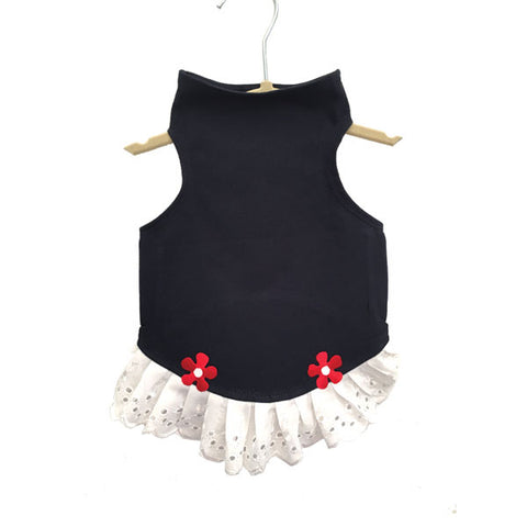 430 Daisy & Lucy Navy Jersey Top with Eyelet Trim and Flower Detail