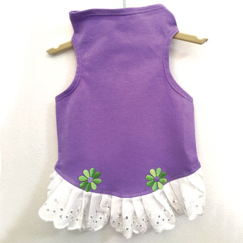 432 Lilac Jersey Top with Eyelet Trim and Flower Detail