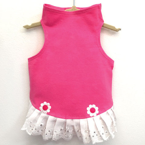 433 Pink Jersey Top with Eyelet Trim and Flower Detail