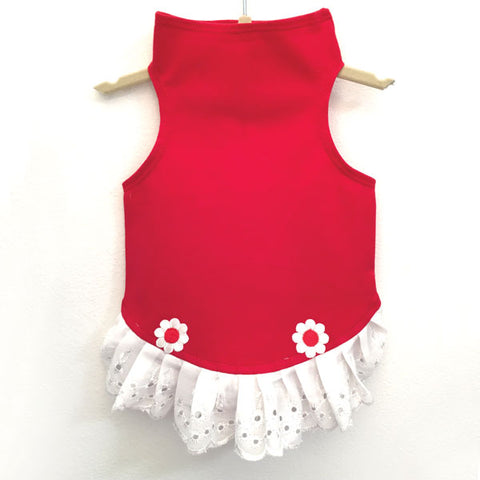434 Red Jersey Top with Eyelet Trim and Flower Detail