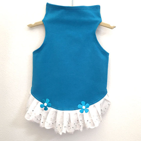 435 Turquoise Jersey Top with Eyelet Trim and Flower Detail