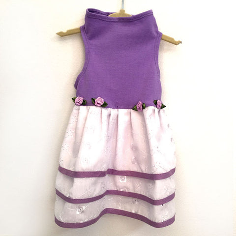 436 Lilac Cotton Jersey Top with Triple White Eyelet Skirt