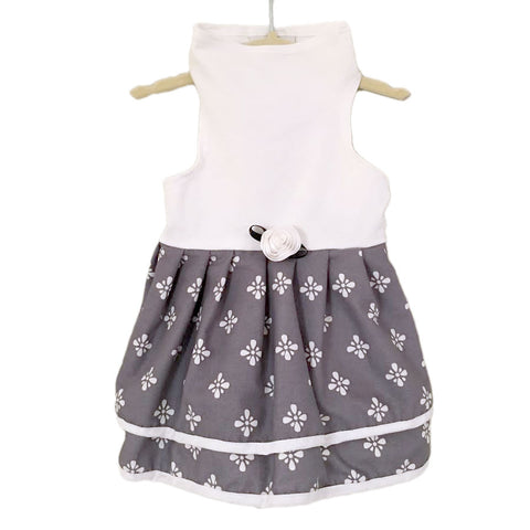 501D Grey and White Print Double Skirt