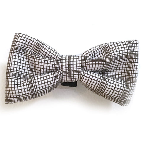 602 Barley's Brown & White Plaid Dog Bow Tie