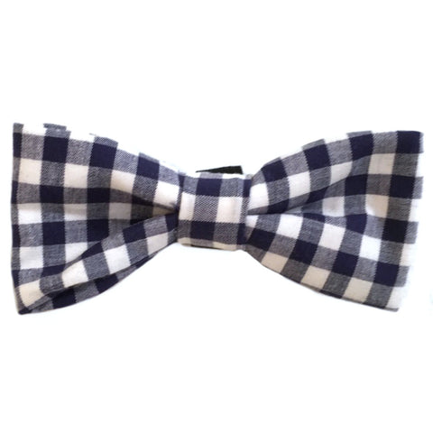 604 Barley's Navy Gingham Dog Bow Tie