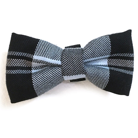 606 Barley's Black & Blue Plaid Dog Bow Tie