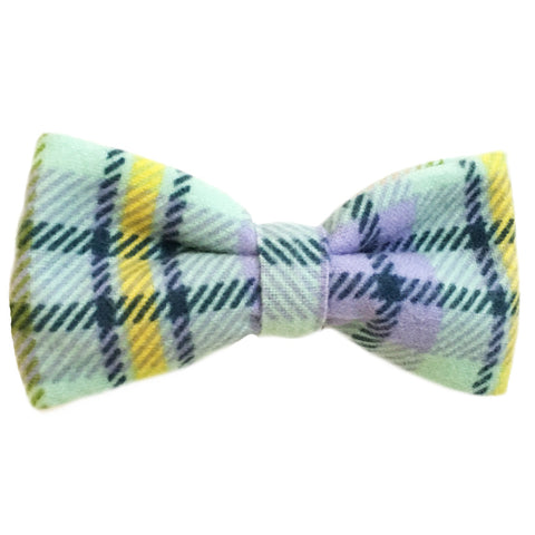 610 Barley's Green & Yellow Plaid Dog Bow Tie