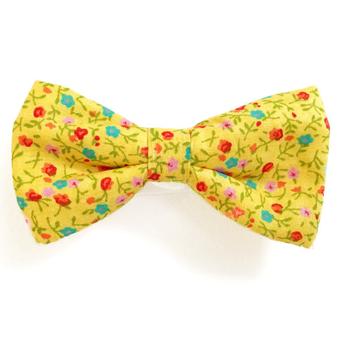 611 Barley's Yellow Flowers Dog Bow Tie