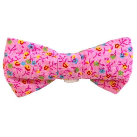 612 Barley's Pink Flowers Dog Bow Tie