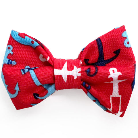 623 Barley's Red Anchors Dog Bow Tie