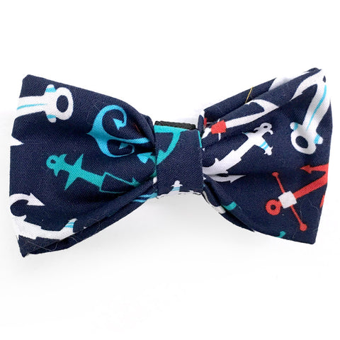 624 Barley's Blue Anchors Dog Bow Tie