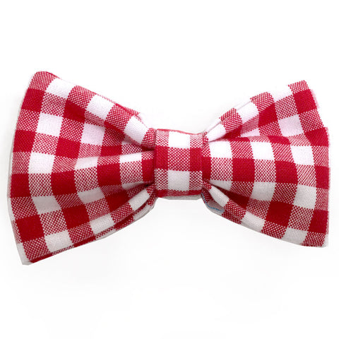 625 Barley's Red Gingham Dog Bow Tie