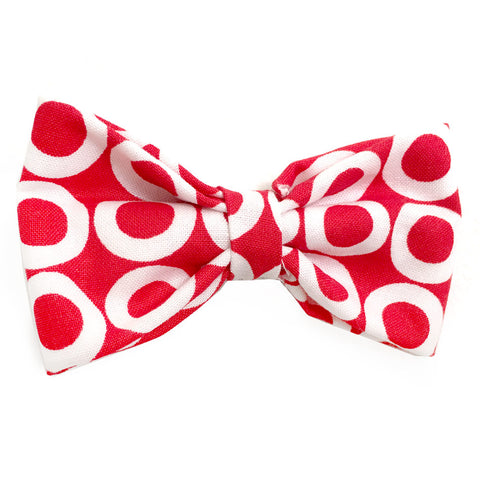 631 Barley's White Circles on Red Dog Bow Tie