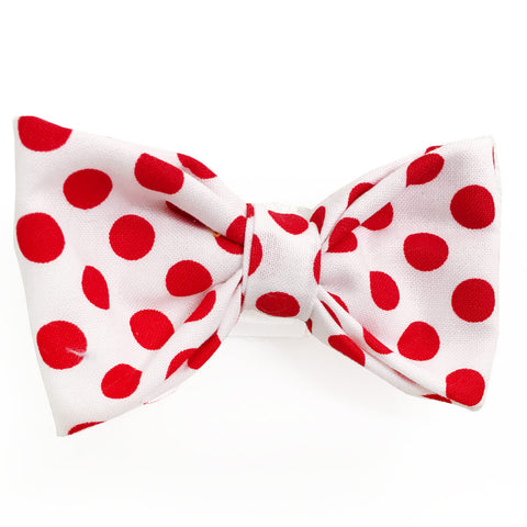 634 Barley's Red Polka Dots Dog Bow Tie