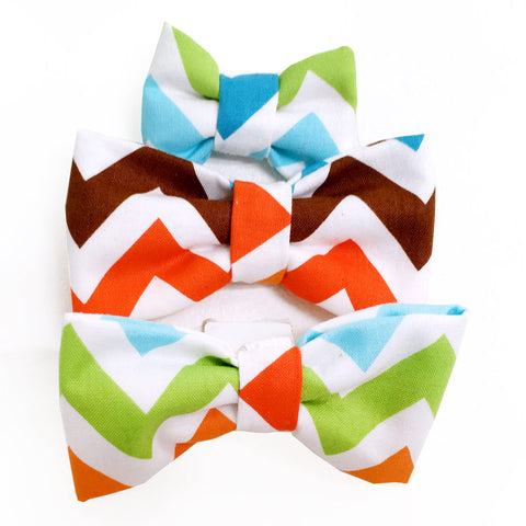 638 Barley's Color Chevron Dog Bow Tie