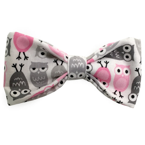 639 Barley's Silly Owls in Gray Dog Bow Tie