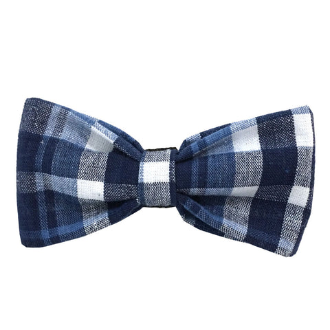 651 Barley's Cotton Seersucker Plaid Dog Bow Tie