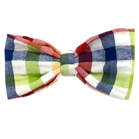 653 Barley's Plaid Cotton Seersucker Dog Bow Tie