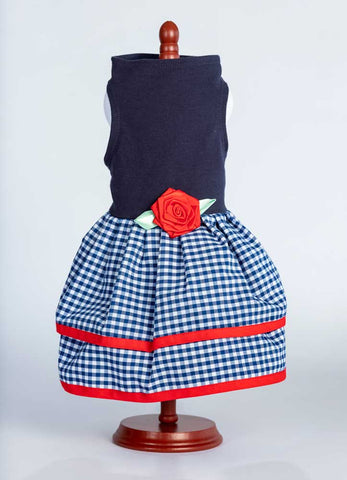 438 Navy Top with Multi Gingham Layer Skirt and Red Trim