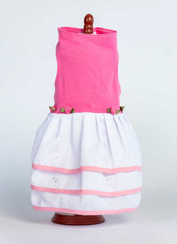 439 Pink Top with Triple Eyelet Skirt and Floral Detail