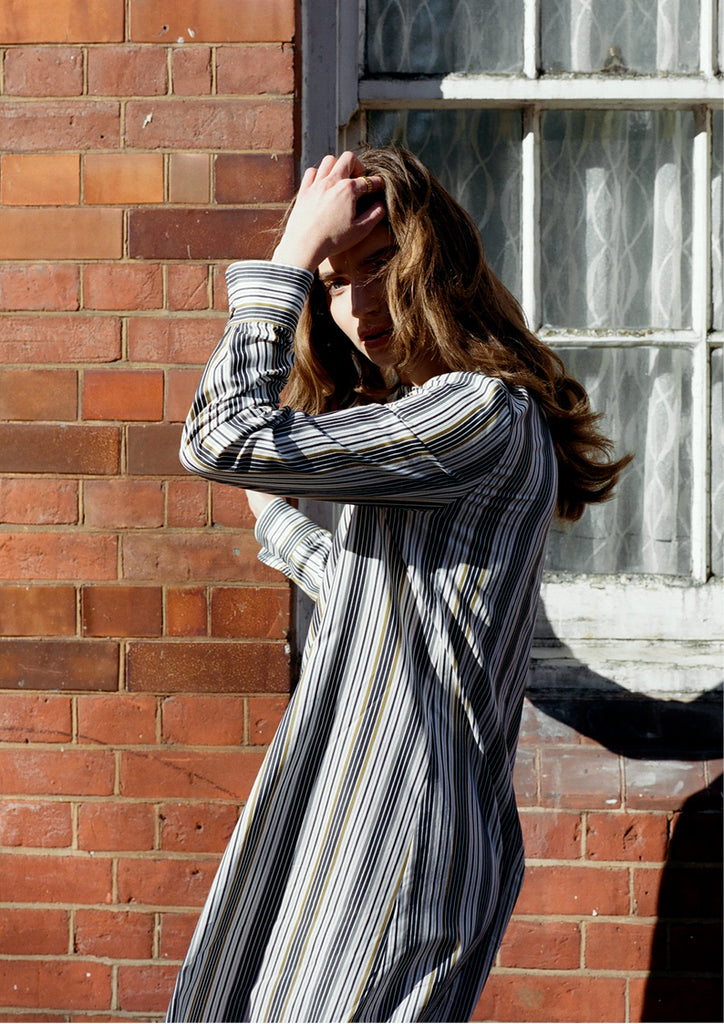 The acey stripe shirt dress cotton