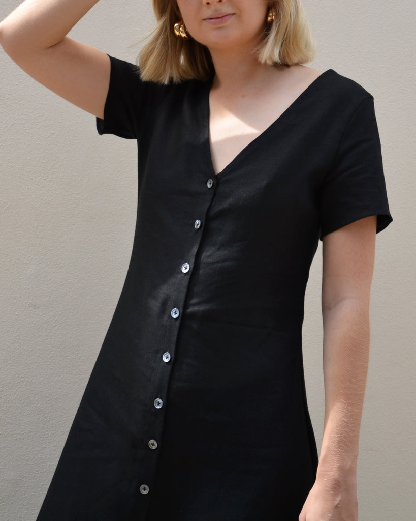 Button Down Dress Black Linen