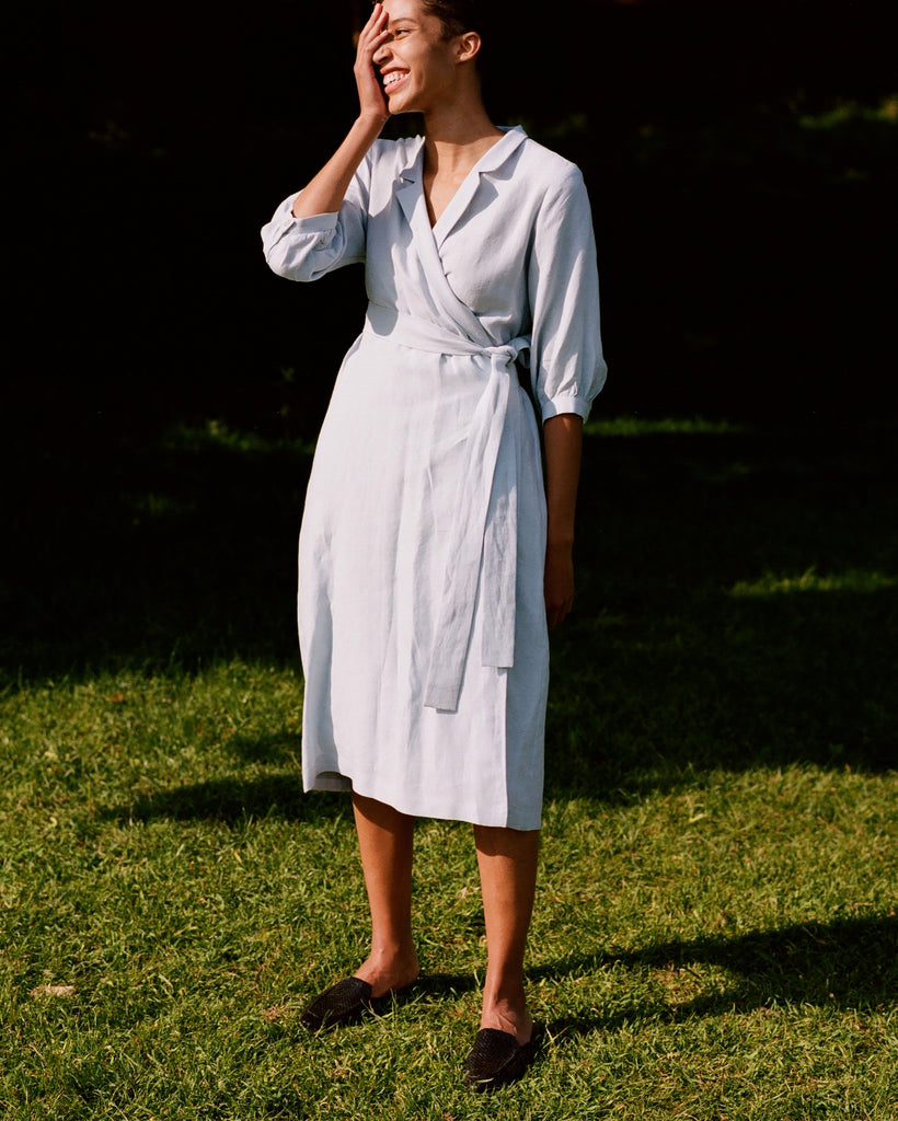 Dinner Date Wrap Dress Sky Blue Linen
