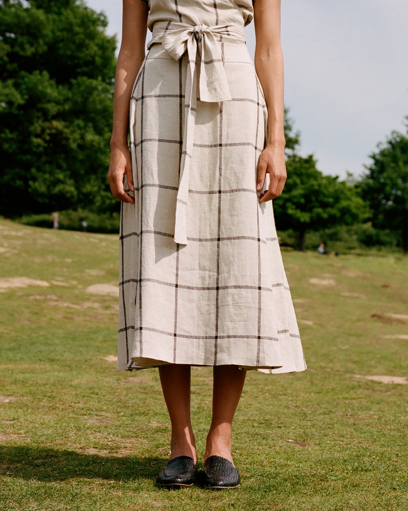 Timeless Two Piece Skirt Check Linen