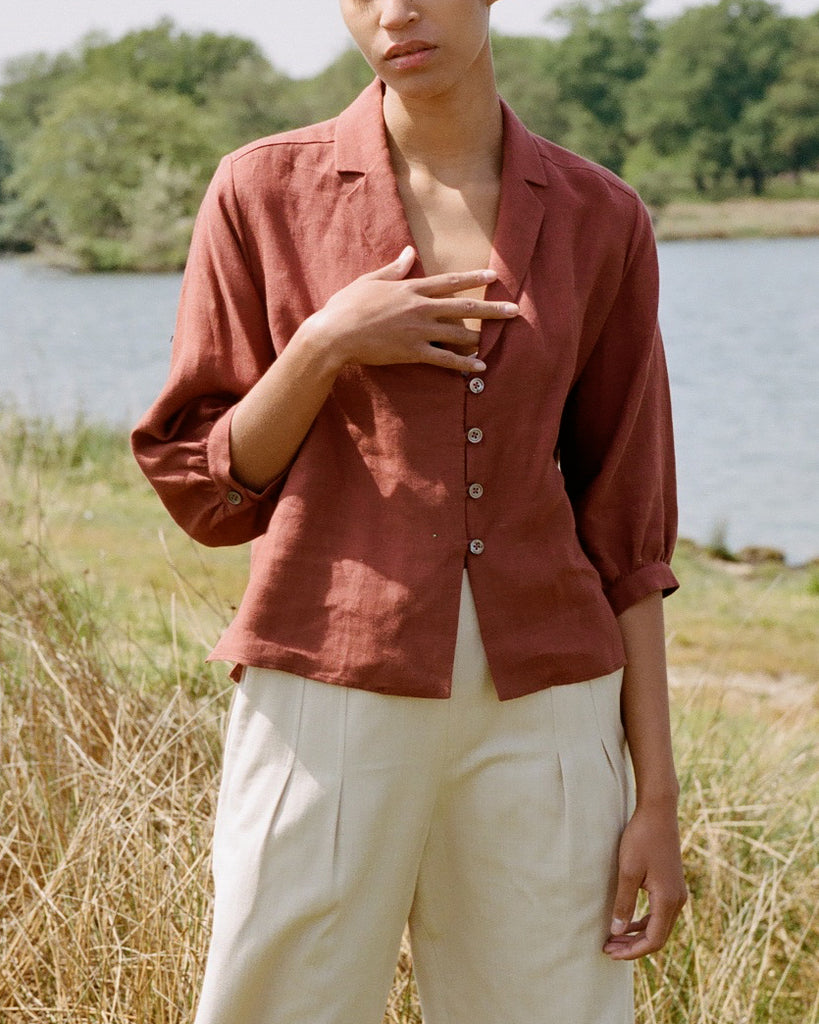 Work To Weekend Shirt Terracotta Linen