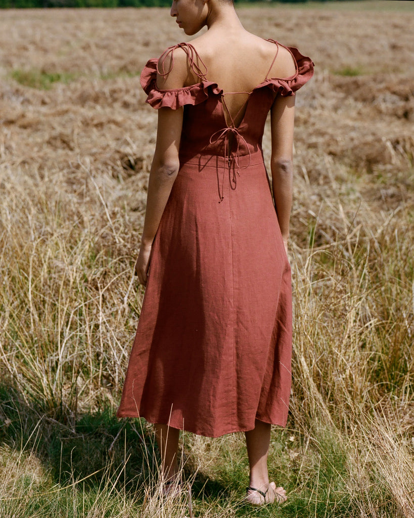 Summer Soiree Dress Terracotta Linen