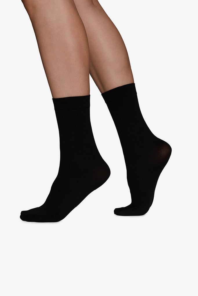 Ingrid Ankle Sock in Matte Black 60 Denier Recycled Yarn