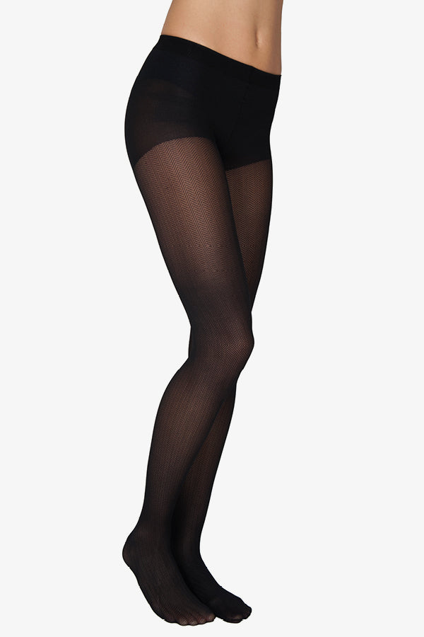 nina fishbone tights 40 denier black recycled yarn