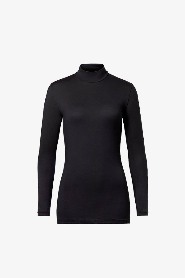 Woron Black high neck long sleeve top