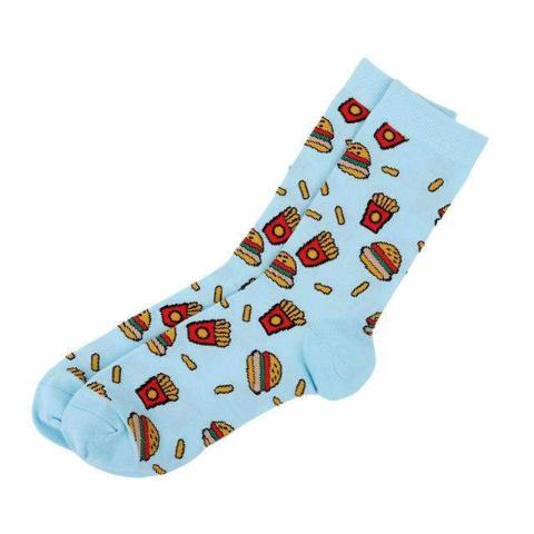 Humburger & Fries Crews-Cheap Cool Socks-Free Shipping-$6|6dollarsocks