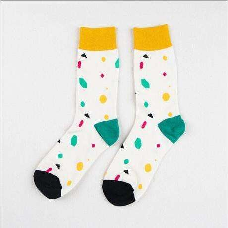 Geometric Shapes colorful Casual Crews-Cheap Cool Socks-Free Shipping-$6|6dollarsocks