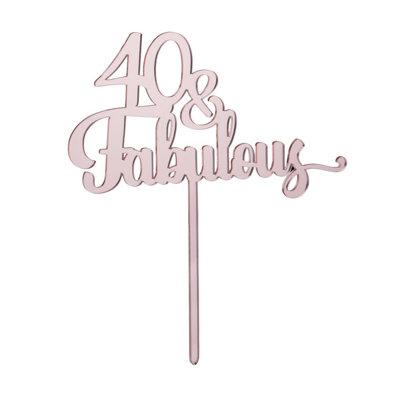 40th Birthday Cake Topper - Mirror Rose Gold Acrylic