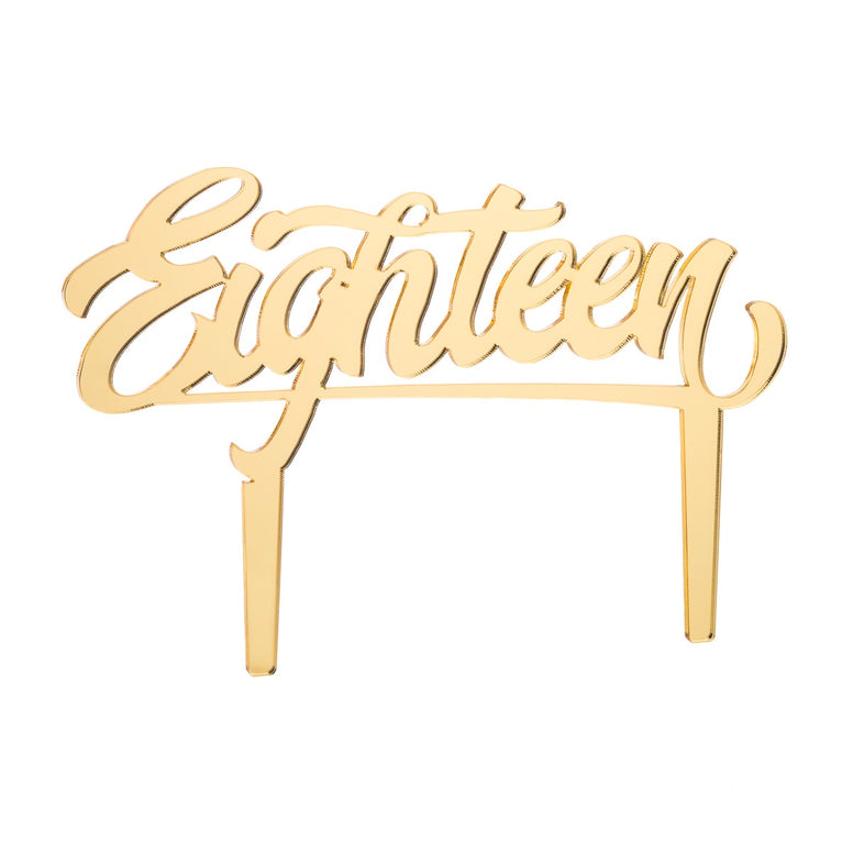 Eighteen Acrylic Cake Topper, Mirror Gold