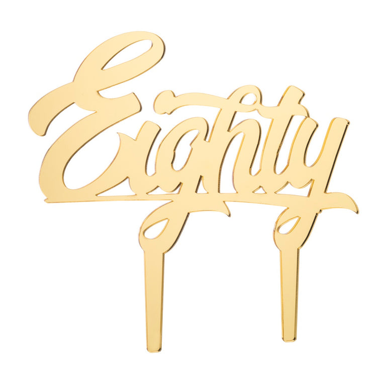 Eighty Acrylic Cake Topper, Mirror Gold