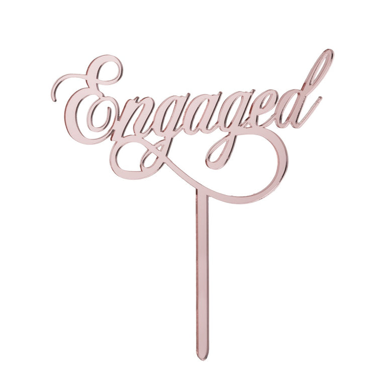 Engaged Cake Topper Mirror Rose Gold