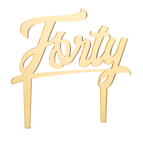 Forty Acrylic Cake Topper - Mirror Gold