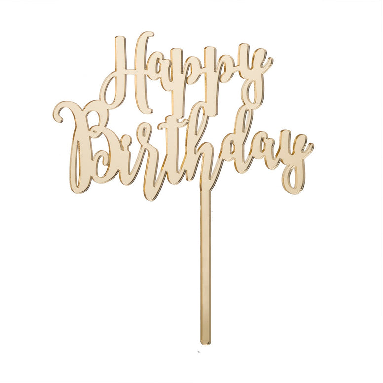 Happy Birthday Acrylic Cake Topper, Mirror Gold