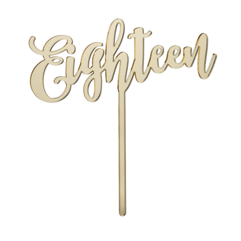 Eighteen Acrylic Cake Topper - Mirror Gold