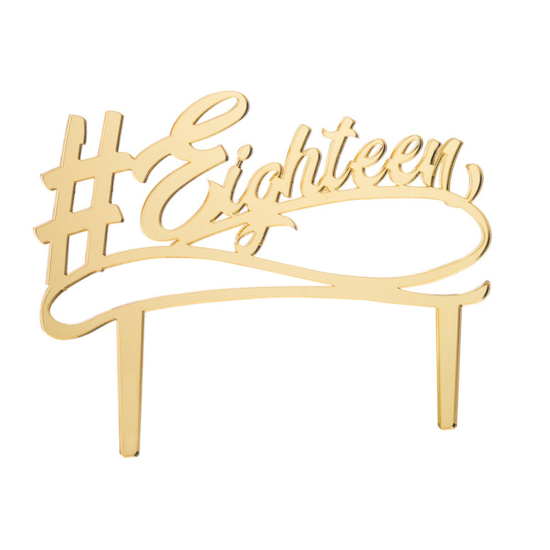 Eighteen Acrylic Cake Topper Mirror Gold