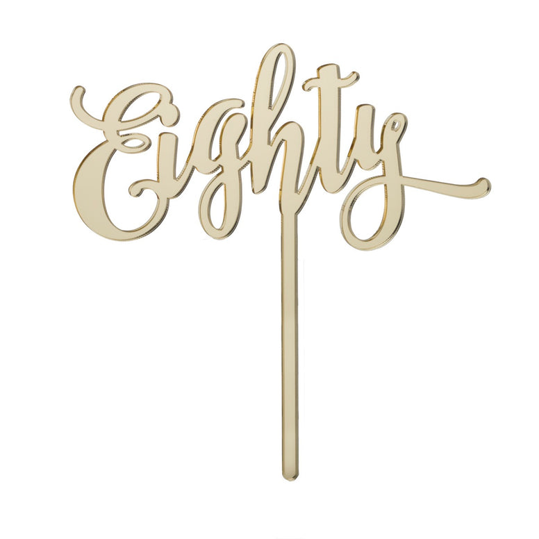 Eighty Acrylic Cake Topper - Mirror Gold