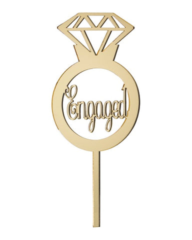 Engaged Mirror Gold Acrylic Cake Topper