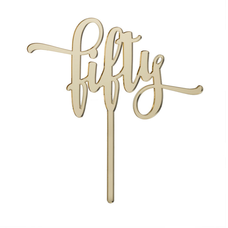 Fifty Acrylic Cake Topper Mirror Gold