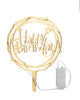 Happy Birthday Acrylic Cake Topper - Mirror Gold with lights