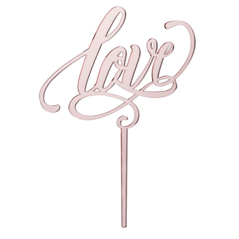Love, Wedding Cake Topper Rose Gold Acrylic