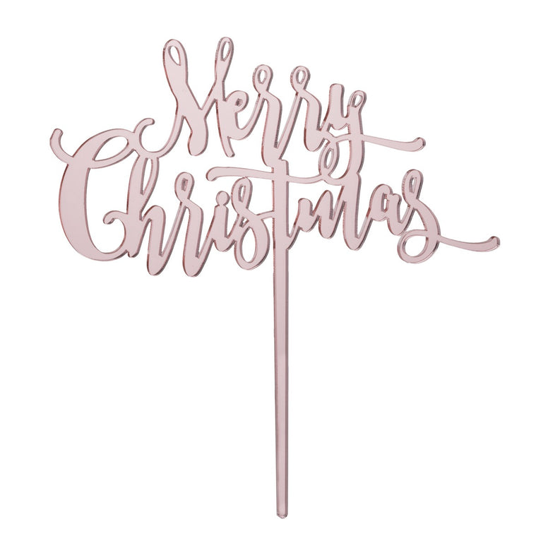 Merry Christmas Cake Topper - Mirror Rose Gold